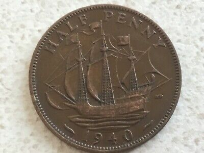 1940 George VI British halfpenny ship half pence