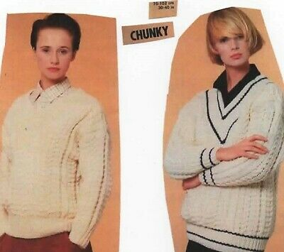 """2548 Ladies Chunky Cable Jumpers Knitting Pattern 30 - 40"""""""