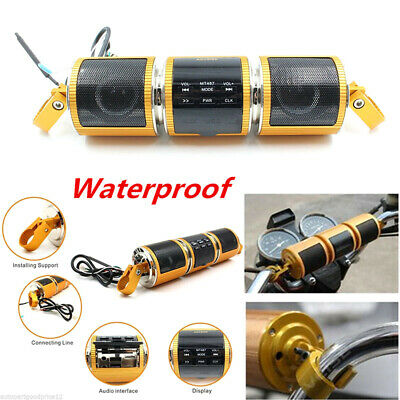 Motorcycle Bluetooth Audio Sound System MP3 FM Radio Stereo Speaker WaterprooBCD