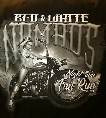 RED AND WHITE NOMADS CA POKER RUN Motorcycle Hells Angels Men's T