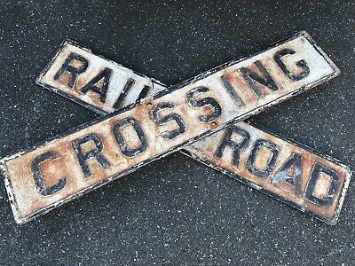 "Rare Vintage 48""  Cast Iron RR Railroad Crossing Sign Antique Double Sided"