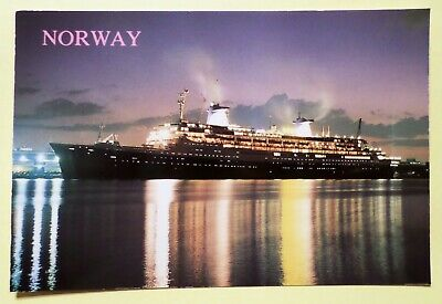 ms Norway . Norwegian Cruise Line NCL w/ Ship's Stamp Paquebot Passenger France