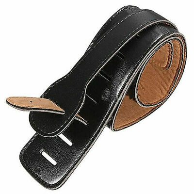 Adjustable Black Soft Leather Thick Strap For Electric Bas Acoustic Guitar I5Y7