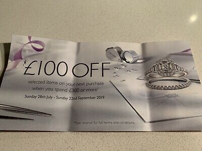Ernest Jones £100 Off When You Spend £300 Or More Voucher Online Sale