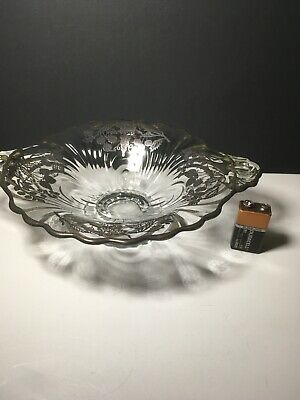 Rare Antique Sterling Silver Overlay Fruit Flower Etched Glass Bowl