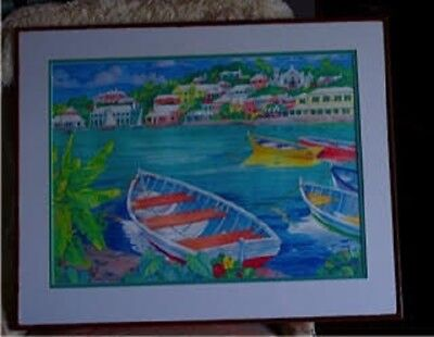 Paul Brent watercolour #2 GAZEBO IS BAY CARIBE - Framed and Matted.