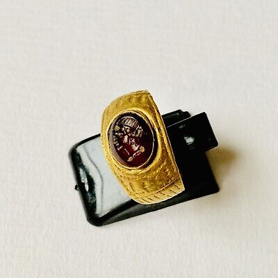 BEAUTIFUL Ancient Roman Wearable Gold Oval Shaped Carnelian Intaglio Ring Size:I