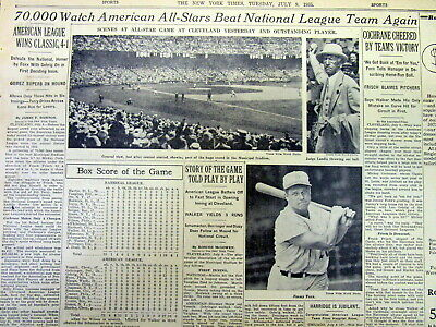 1935 NY Times newspaper AMERICAN LEAGUE wins BASEBALL ALL STAR GAME  Jimmy Foxx