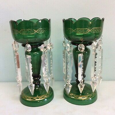 "Pair of Green Lusters Gold Trim Repaired Sold As Is 11"" T"