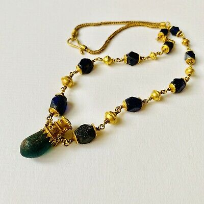 BEAUTIFUL Ancient Roman Gold Pendant Necklace With Green And Blue Glass Beads