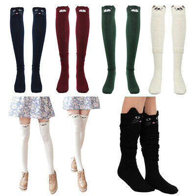 Women Girls Cable Knit Long Boot Socks Over Knee Thigh High School Stocking Sock