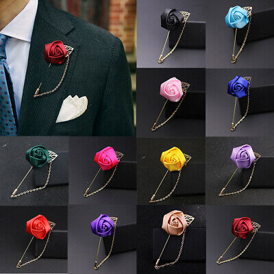 49e56b836e583 Men's Rose Flower Brooch Lapel Suit Pin Wedding Party Prom Fashion  Accessories #