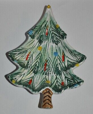 Vintage Numbered Italy Signed Christmas Tree Candy Dish Serving Pottery MCM