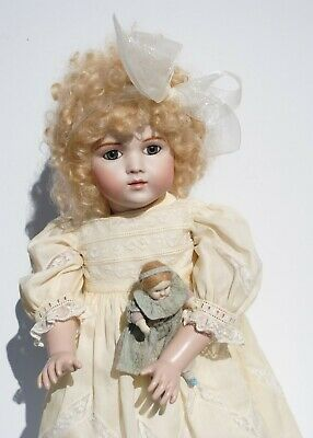 "Antique French Bru Doll With Small Doll 20"" Reproduction Artist Made Gorgeous"