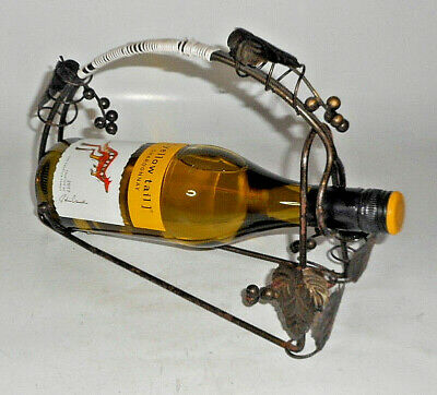 PIER 1 IMPORTS WINE HOLDER POURER WROUGHT IRON WICKER HANDLE