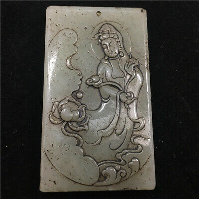 "2"" Chinese Natural hetian white old jade handcarved guanyin Lotus Pendant"