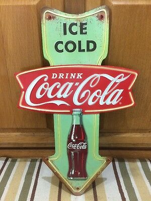 Coca Cola Ice Cold Arrow Metal Button Vintage Style Coke Soda  Decor Diner