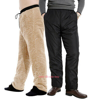 fc74ecabd6086 Men Winter Thick Warm Fleece Lined Pants Casual Loose Long Sports Trousers  Black