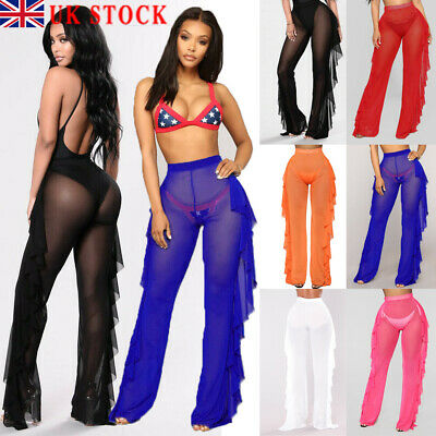 Ladies Women's Mesh striped Sexy Leggings Casual Perspective Pants Trousers