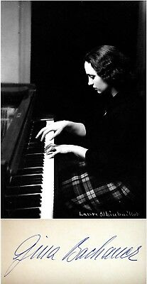 Pianist GINA BACHAUER Hand SIGNED AUTOGRAPH + ACTION PHOTO + DECORATIVE MAT
