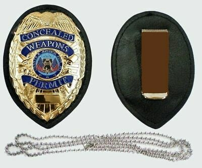 Badge Clip + Neck Chain Holder Concealed Carry Permit Ccw + Free Gift