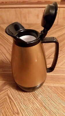 Vintage Thermo Serv 1970s insulated plastic coffee carafe pitcher black gold
