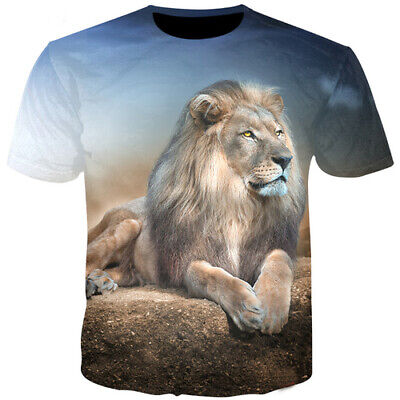 Women Men T-Shirt 3D Print Short Sleeve Tee Tops Animal Lion Pattern Casual