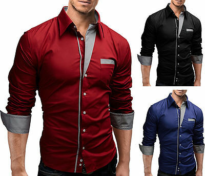 Mens Luxury Shirt Slim Business Formal Fit Dress Shirts Casual Long Sleeve Tops