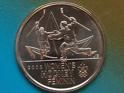1-2009 Brilliant Uncirculated Canadian Olympic Women's Hockey 25¢ MS Quality