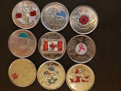 9-Painted Canadian Quarters 2006, 2008, 2009, 2010, 2-2011,2013,2015,2017