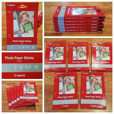 New! 5 Packs of Canon GP-701 InkJet Glossy Photo Paper 4x6, 50 Sheets Each Pack