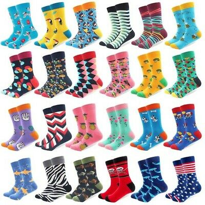 Mens Cotton Socks Novelty Cartoon Animal Fruits Colorful Funny Casual Dress Sock