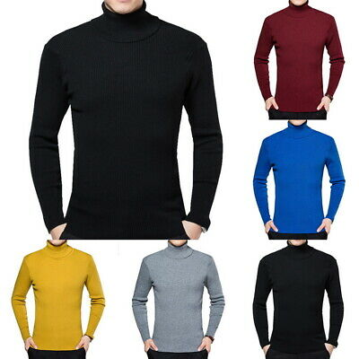Men's Turtleneck Sweater Knitted Long Sleeve Pullover Stretch Strick Sweaters