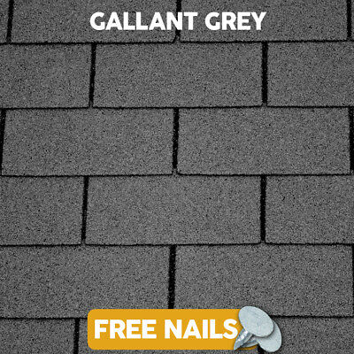 GroundMaster Grey Roofing Felt Shingles Tiles Square Butt 4 Tab 2.61m² Pack