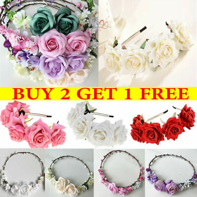 Rose Flower Floral Headband Head Garland Crown Bride Wedding Hair Accessory