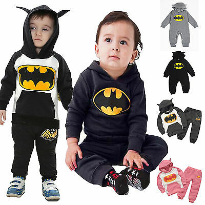 Batman Kids Boys Girls Baby Hooded Romper Jumpsuit Tracksuit Outfits Clothes Set