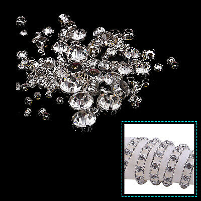Clear Crystal Cut Glass Sew On Diamond Silver Rhinestone Beads Jewellery Making