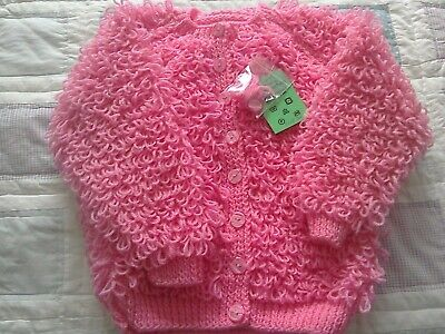 Hand-knitted  Childs  pink  loopy  Cardigan  size 24 inch chest