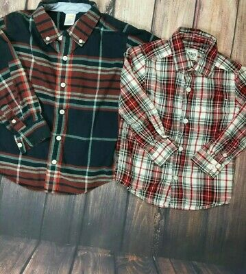 Boys Childrens Place / Gymboree LOT 2 Plaid Long Button Down Shirts Toddler 3t
