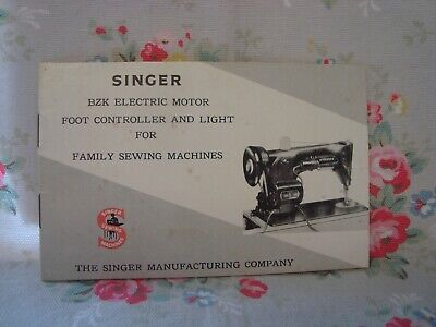 Vintage Singer Sewing Machine Instructions for attaching BZK Motor