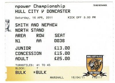 Ticket - Hull City v Doncaster Rovers 16.04.11