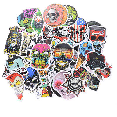 50x Mixed Skull Laptap Stickers For Fridge Skateboard Home Decor Doodle Toy BCDE