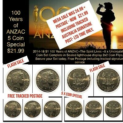 2014-2018 Australian $1 100 Years of ANZAC 2014-2018 - 5 x UNC Coin Special
