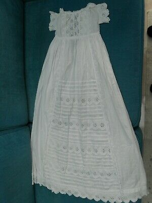 Beautiful Antique Victorian Broderie Anglaise Baby's Christening Gown Robe Dress
