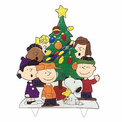 Peanuts Gang Around Tree Yard Art Outdoor Christmas Decor Hammered Metal