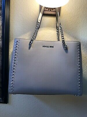 37d07ac66c55 Nwt,Authentic Michael Kors Ellis Lg Tote Studded Leather Handbag Purse Grey  Gray