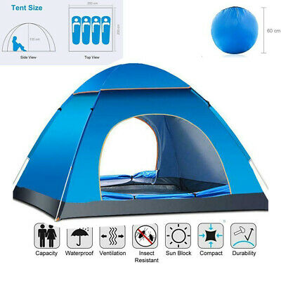 3-4 Man Person Family Festival Camping Pop Up Tent Auto Hiking Beach Dome Tent