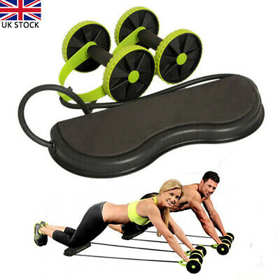 Abdominal Power Roll AB Trainer Waist Slim Exercise Core Double Wheel Fitness UK