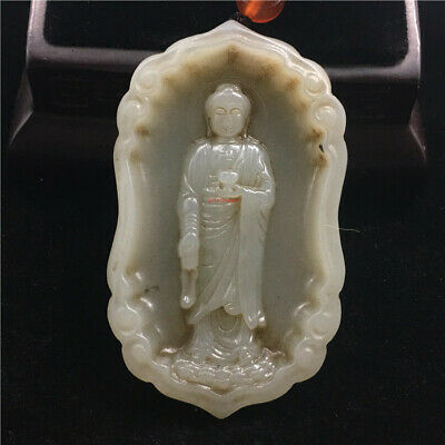 """2"""" Chinese Natural hetian old jade handcarved guanyin Buddha statue Pendant"""