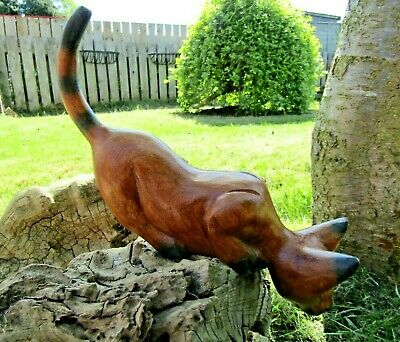 Fair Trade Hand Carved Made Wooden Shelf Cat Feline Sculpture Ornament Statue